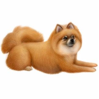 かわいいポメラニア犬犬のオーナメント 写真彫刻オーナメント
