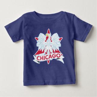 かわいいポーランドのシカゴの旗の星 ベビーTシャツ