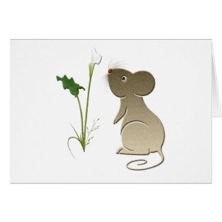 かわいいマウスおよびオランダカイウユリ カード