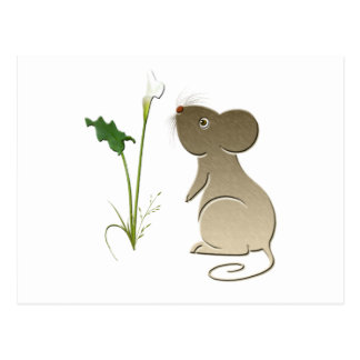 かわいいマウスおよびオランダカイウユリ ポストカード