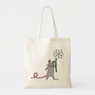 かわいいマウスおよび花の芸術のバッグ トートバッグ