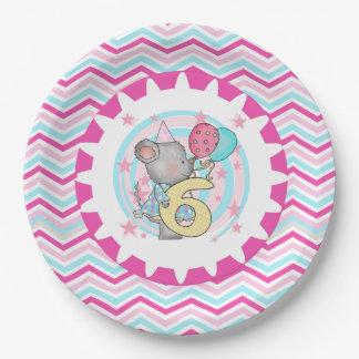 かわいいマウスの第6誕生日の紙皿 ペーパープレート
