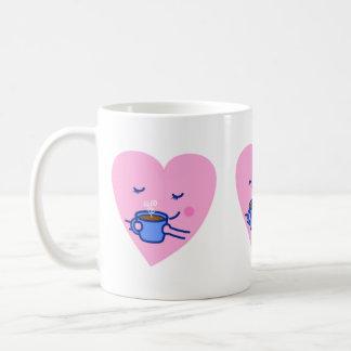 かわいいマグ-バラ色のコーヒーハート(衰退する) コーヒーマグカップ