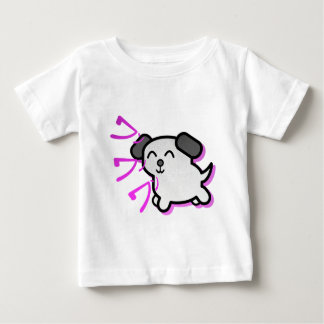かわいいマンガのスタイル犬のデザイン-紫色 ベビーTシャツ