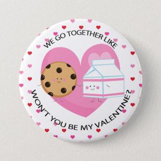 かわいいミルクおよびクッキーのバレンタイン 7.6CM 丸型バッジ
