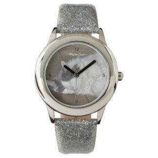 かわいいメインのあらいぐま猫の睡眠の腕時計 腕時計