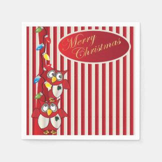 かわいいメリークリスマスのフクロウ スタンダードカクテルナプキン