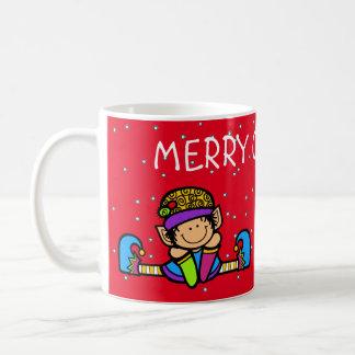 かわいいメリークリスマスの小妖精や小人 コーヒーマグカップ