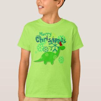 かわいいメリークリスマスの恐竜 Tシャツ