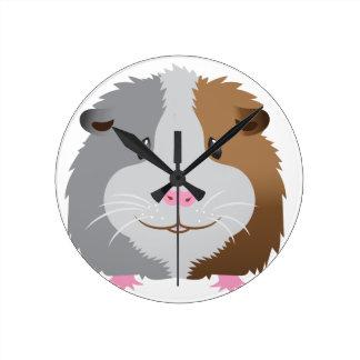 かわいいモルモットの顔 ラウンド壁時計