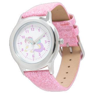 かわいいユニコーンのピンクの紫色の白くガーリーなパステル 腕時計