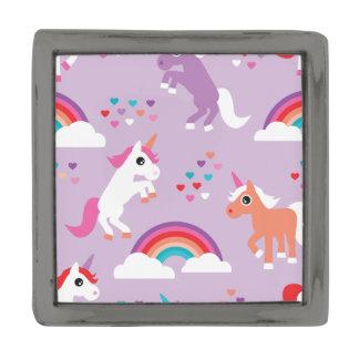 かわいいユニコーンの虹の紫色 ガンメタルラペルピン