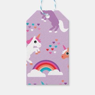 かわいいユニコーンの虹の紫色 ギフトタグ