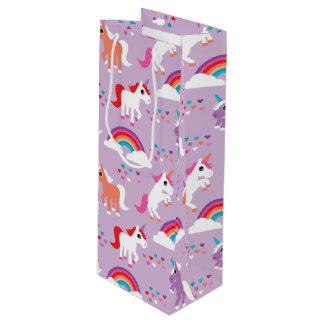 かわいいユニコーンの虹の紫色 ワインギフトバッグ