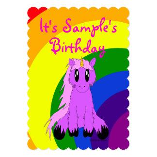 かわいいユニコーンの虹の誕生日の招待状(ピンク) 12.7 X 17.8 インビテーションカード
