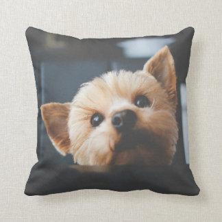 かわいいヨークシャテリアの小犬の枕 クッション