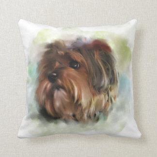 かわいいヨークシャテリアの小犬の芸術 クッション
