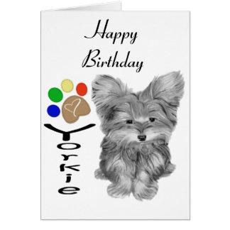 かわいいヨークシャーテリアの犬および足のプリントの芸術のギフト カード