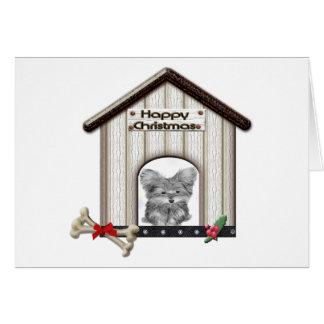 かわいいヨークシャーテリア犬が付いているクリスマスのギフト カード