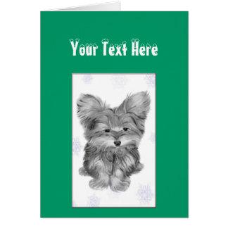 かわいいヨークシャーテリア犬が付いているクリスマスの挨拶状、 カード