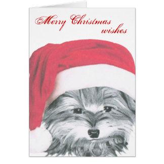 かわいいヨークシャーテリア犬のクリスマスカード カード