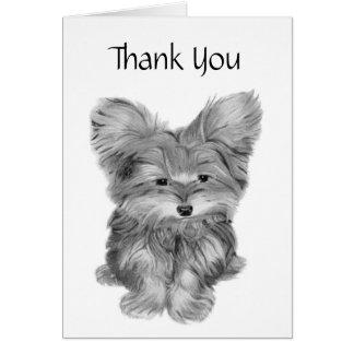 かわいいヨークシャーテリア犬は感謝していし、健康になりまカリフォルニアに挨拶します カード
