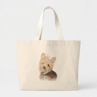 かわいいヨークシャーテリア、ヨークシャテリア、犬、ペット ラージトートバッグ