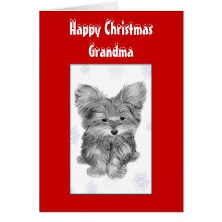 かわいいヨークシャーテリアDの祖母のクリスマスの挨拶状 カード