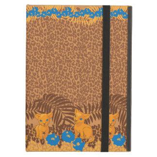 かわいいライオンの漫画および花のヒョウパターン iPad AIRケース