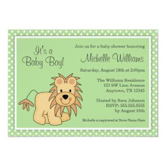 かわいいライオンの緑の水玉模様のベビーシャワー カード