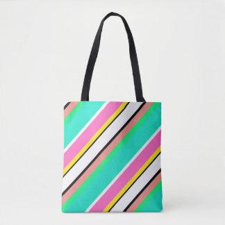 かわいいライン緑のピンクのトートバック トートバッグ