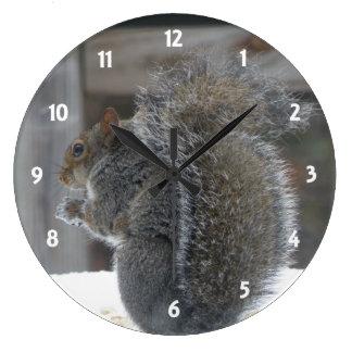 かわいいリスの時計 ラージ壁時計