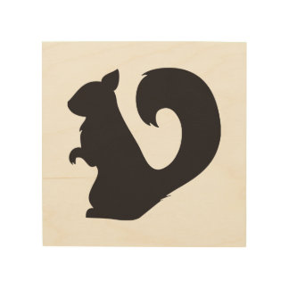 かわいいリスの生き物の森林動物の黒いカメオ ウッドウォールアート