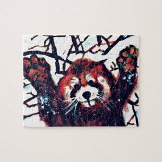 かわいいレッサーパンダの雪日 ジグソーパズル
