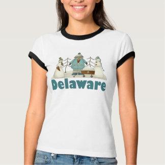 かわいいレディースデラウェア州雪だるまのTシャツ Tシャツ