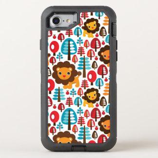 かわいいレトロのライオンは絵をからかいます オッターボックスディフェンダーiPhone 8/7 ケース