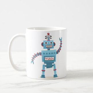 かわいいレトロのロボットアンドロイドは漫画をからかいます コーヒーマグカップ