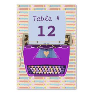 かわいいレトロの紫色のタイプライター愛パーティー カード