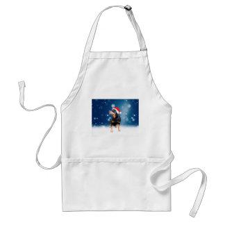かわいいロットワイラー犬のクリスマスのサンタの帽子の雪の星 スタンダードエプロン