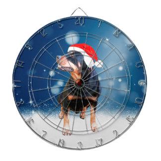 かわいいロットワイラー犬のクリスマスのサンタの帽子の雪の星 ダーツボード