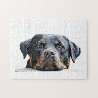 かわいいロットワイラー犬の品種顔 ジグソーパズル