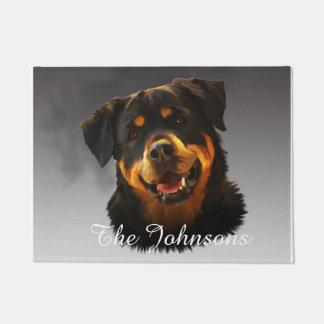 かわいいロットワイラー犬水色の芸術のポートレート ドアマット