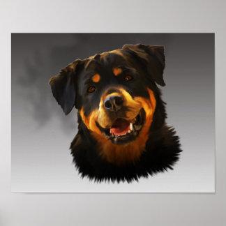 かわいいロットワイラー犬水色の芸術のポートレート ポスター
