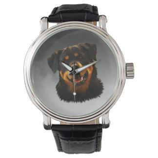 かわいいロットワイラー犬水色の芸術のポートレート 腕時計