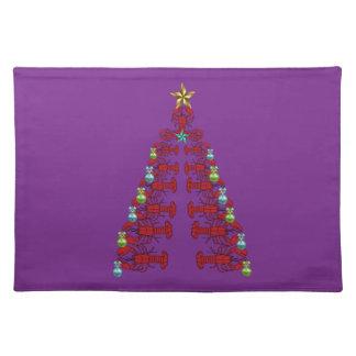 かわいいロブスターの航海のな場所マットのクリスマスの紫色 ランチョンマット