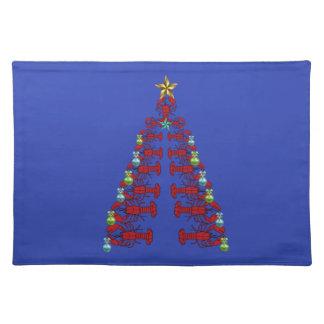 かわいいロブスターの航海のな場所マットのクリスマスの青 ランチョンマット