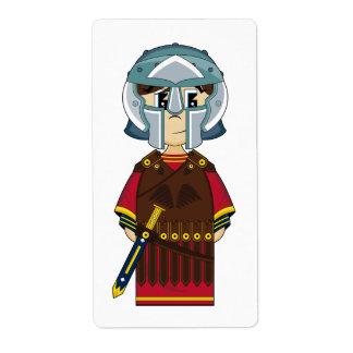 かわいいローマの剣闘士のステッカーのラベル ラベル