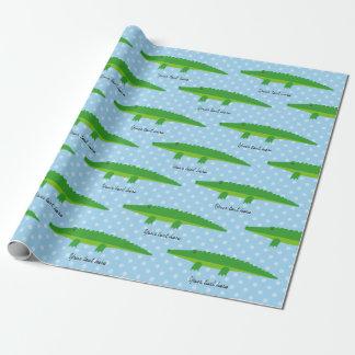 かわいいワニのわに水玉模様の包装紙 ラッピングペーパー