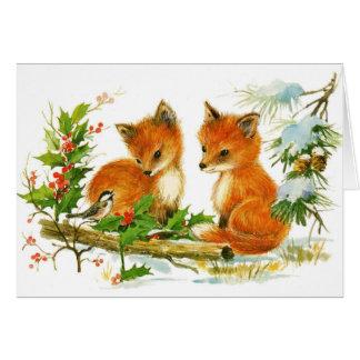 かわいいヴィンテージのクリスマスのキツネ カード