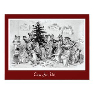 かわいいヴィンテージのクリスマスの招待状- Wain著猫 カード